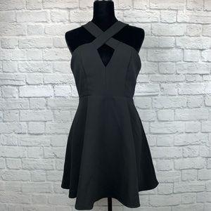 Lulu's Black Criss Cross Cutout Skater Dress M